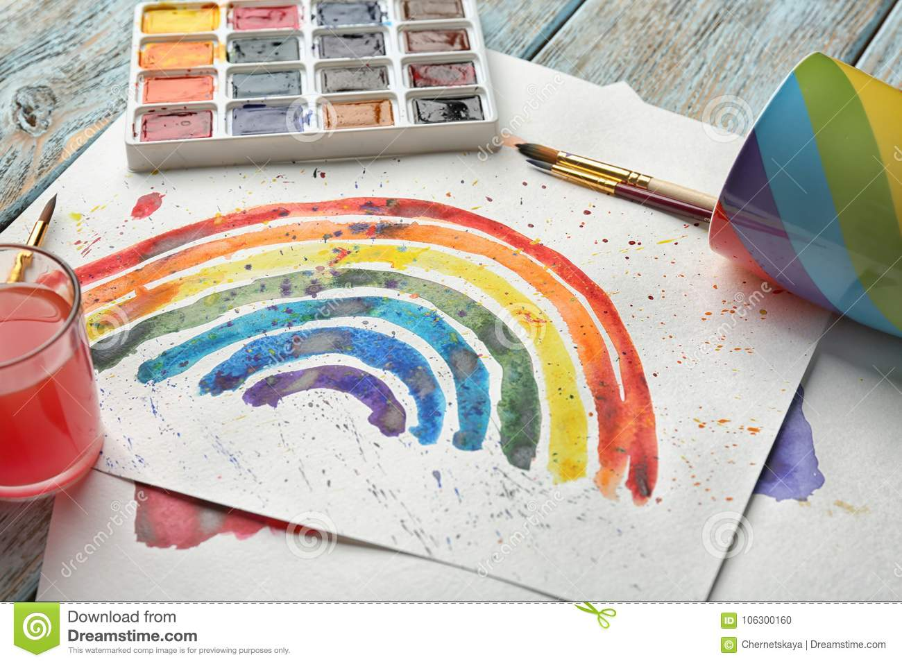Watercolor Painting Of Rainbow Stock Photo - Image of sheets