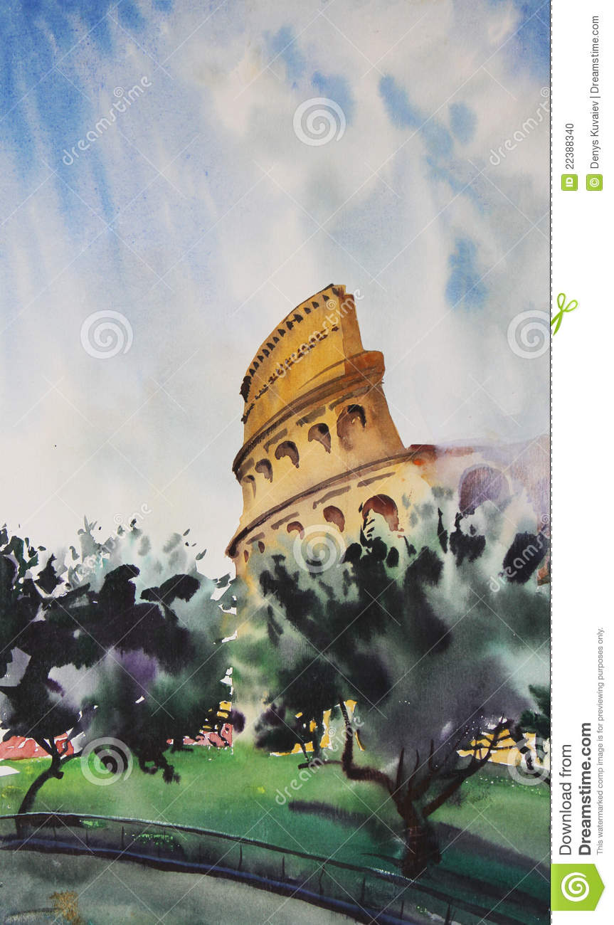 Watercolor Painting Of Rome Stock Photo Image 22388340
