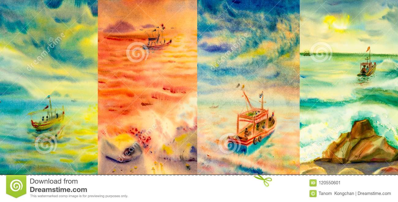 Watercolor painting seascapes at different time of the year.