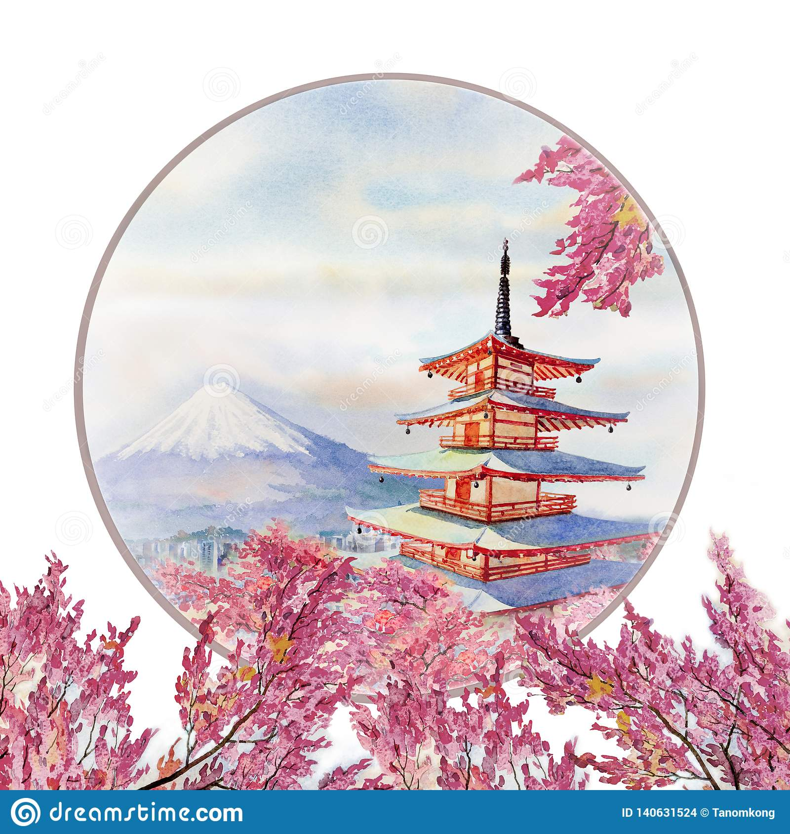 Watercolor Painting Spring With Landmarks In Japan Stock Illustration Illustration Of Mountain Attraction 140631524