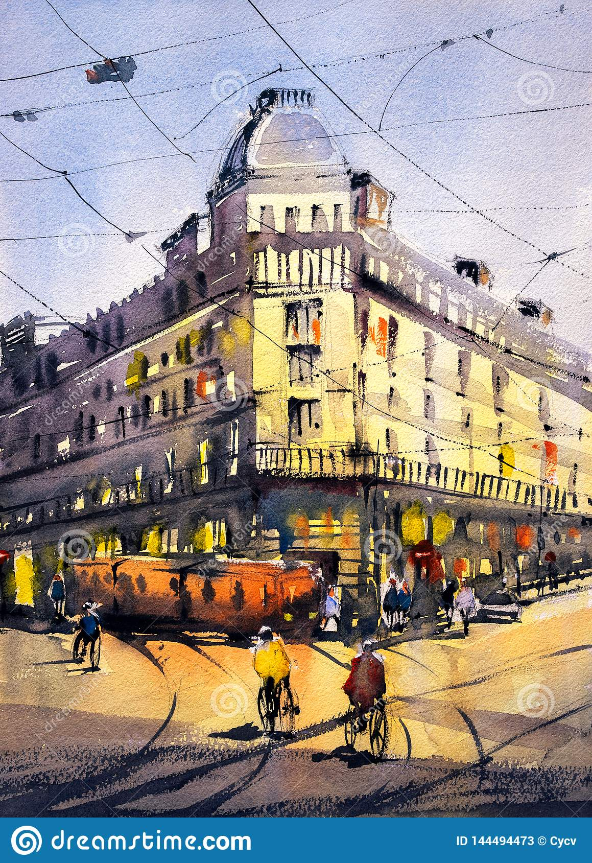 Watercolor Painting - Street View of Paris
