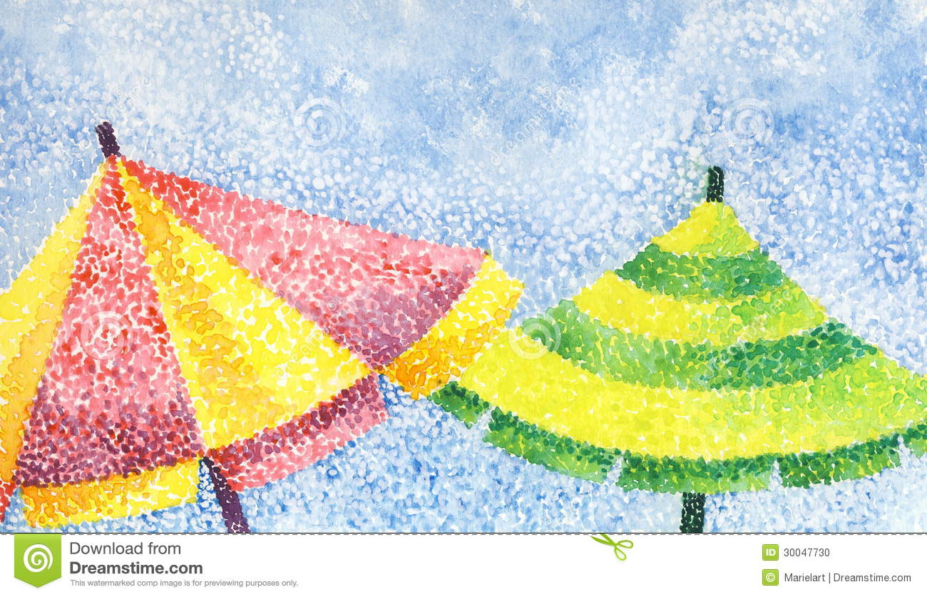 Two Umbrellas Stock Illustration Image Of Color Brown