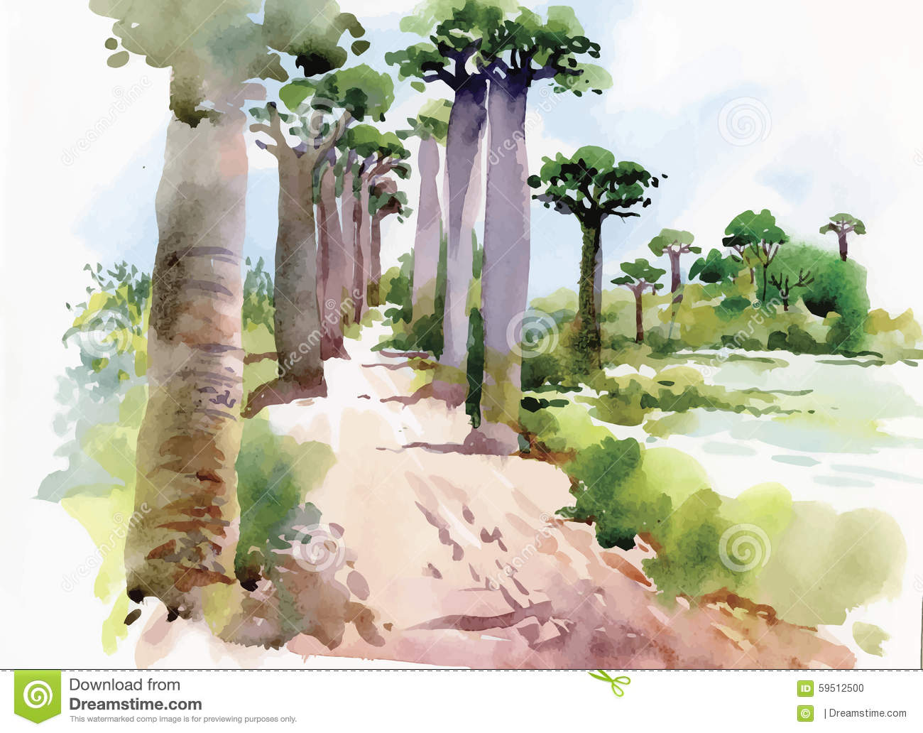 Watercolor painting of summer landscape park way with trees vector illustration