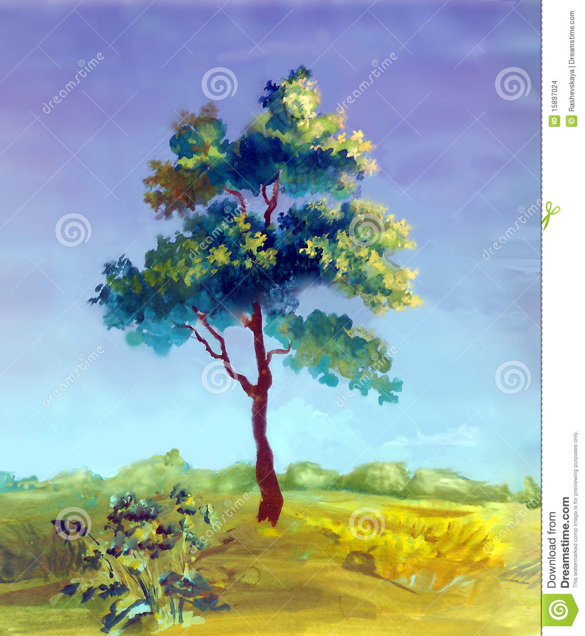Watercolor Painting Of A Tree Stock Images - Image: 15897024