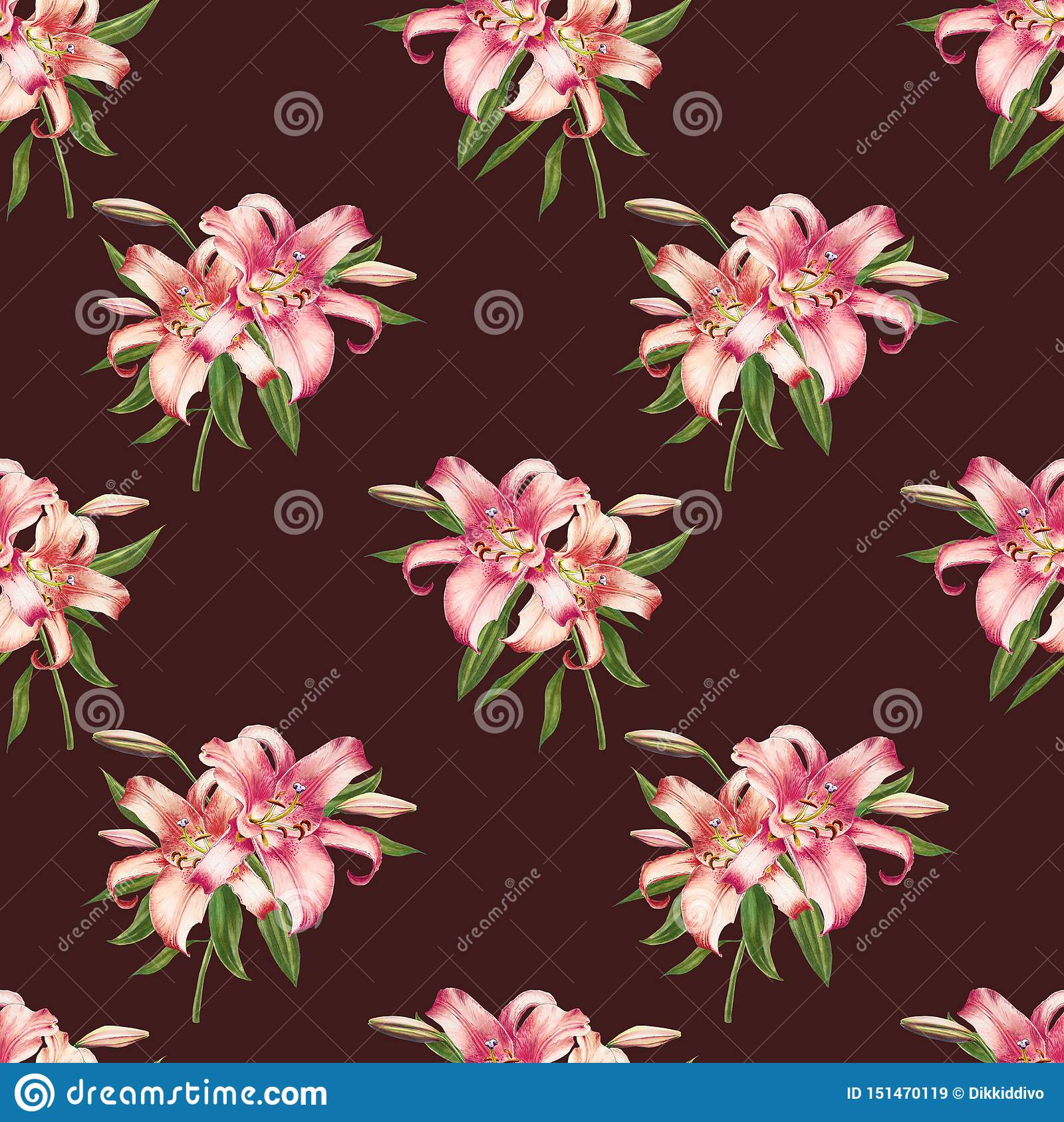 Beautiful white and pink lily seamless pattern. Bouquet of flowers. Floral print. Marker drawing.