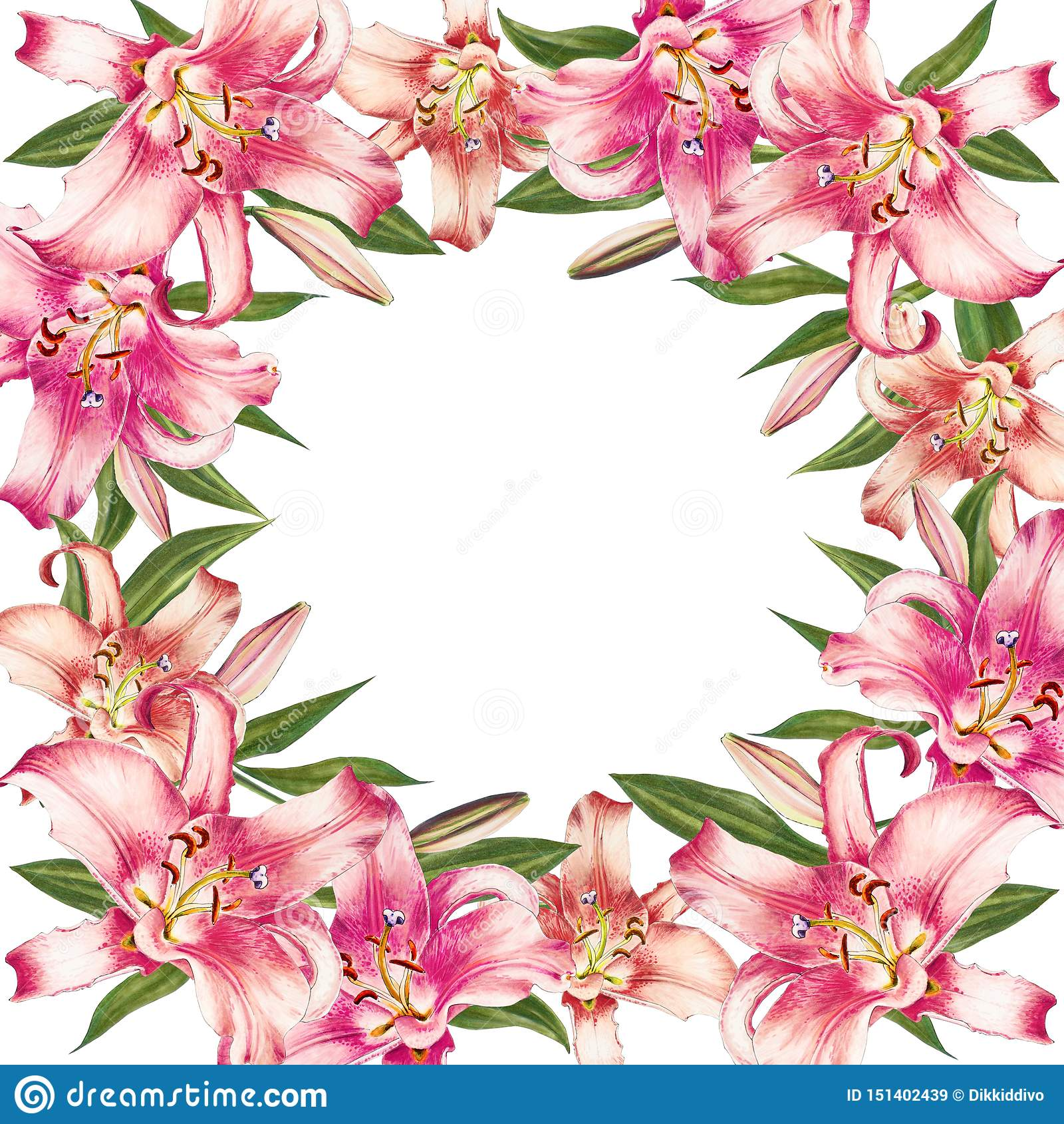 Beautiful pink lily border frame. Bouquet of flowers. Floral print. Marker drawing.