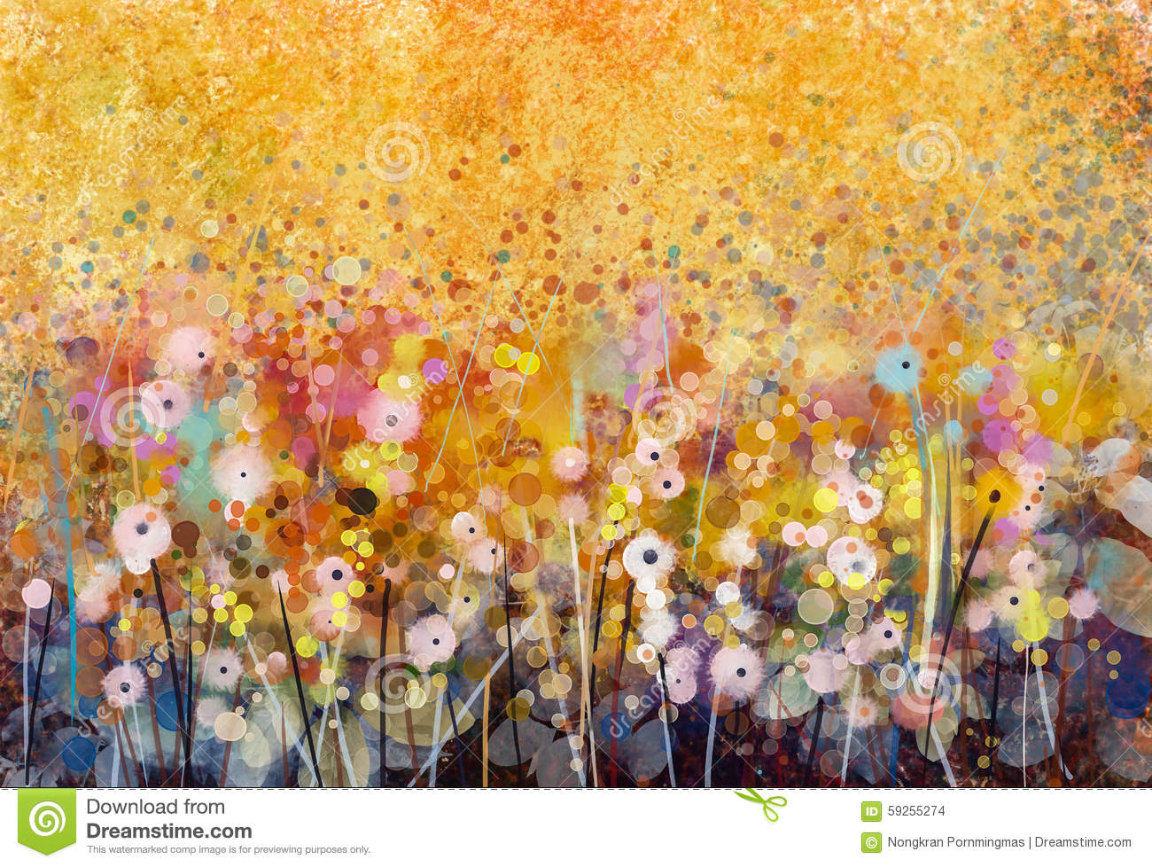 Watercolor painting white flowers fields