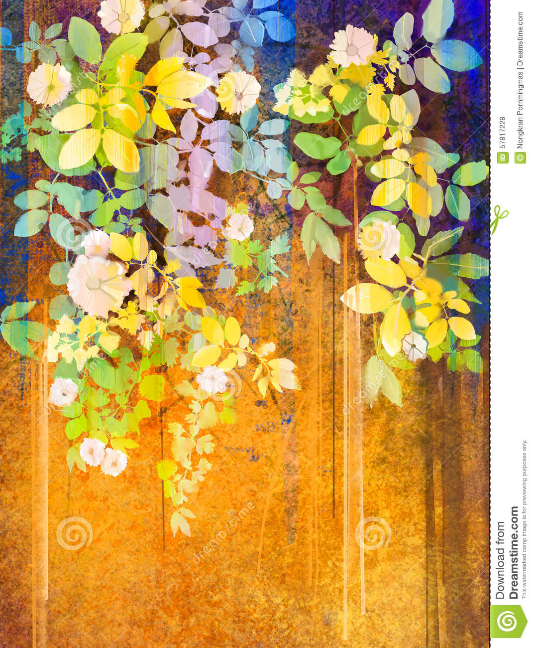 Watercolor Painting White Flowers And Soft Green Leaves Illustration