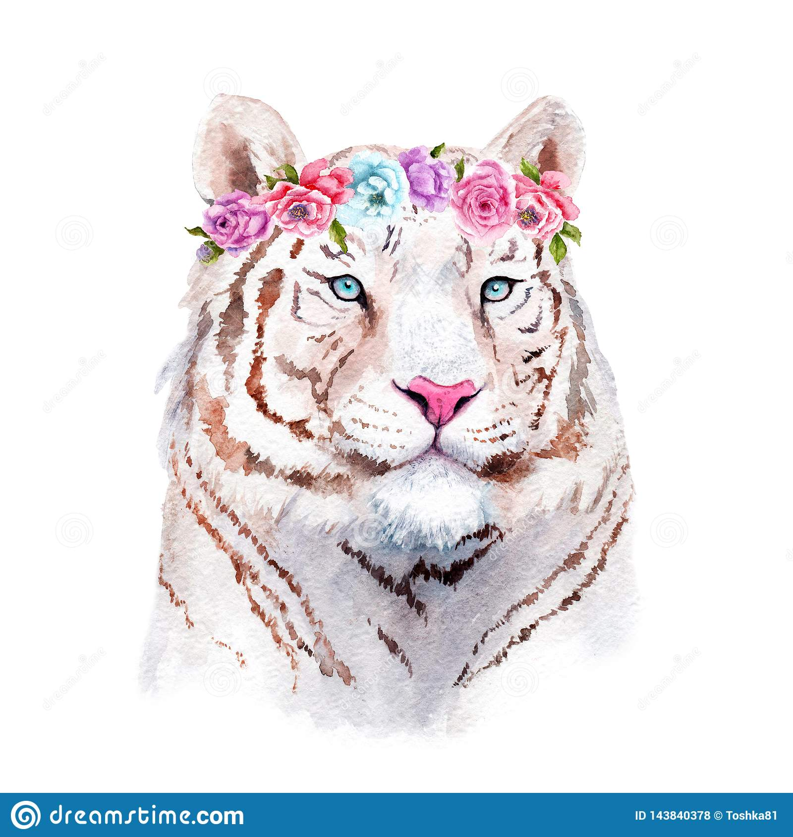 Watercolor Painting Of A White Tiger In Flowers Stock