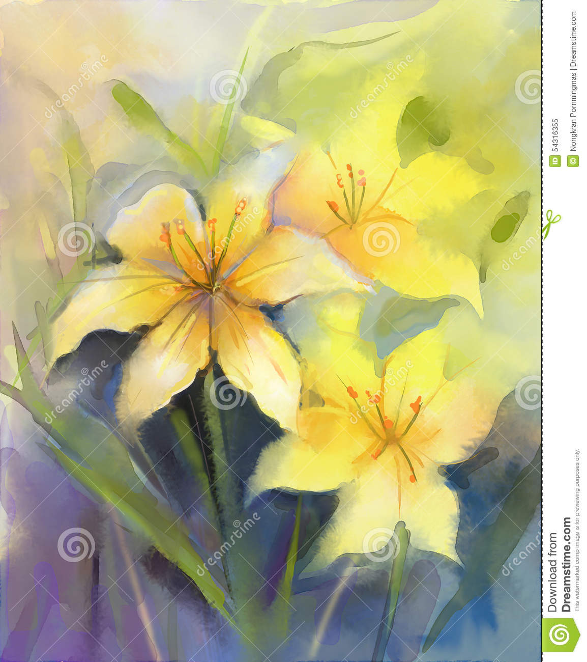 Watercolor Painting Yellow Lily Flower Stock Illustration