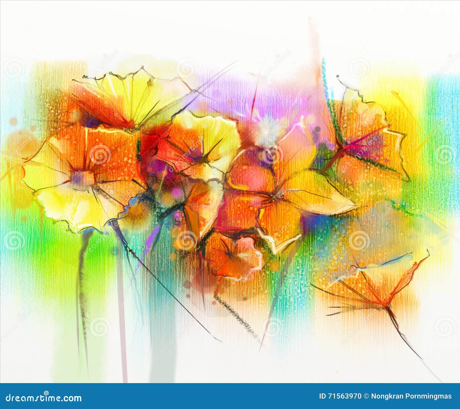 Abstract watercolor painting red gerbera daisy flower for Bouquet de fleurs jaunes