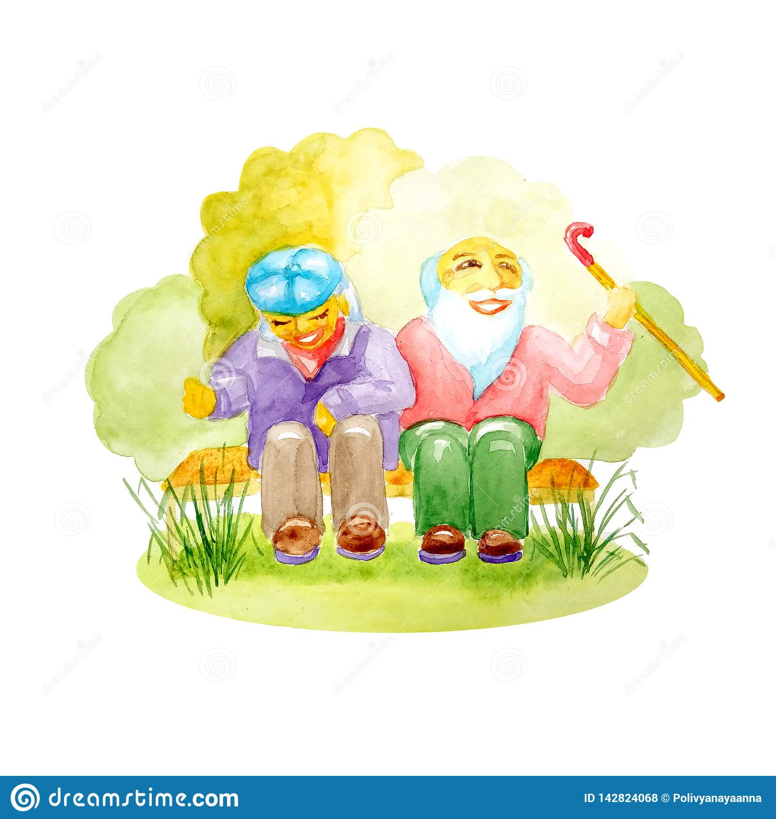 Watercolor pair of white seniors with a cane sitting on a bench in the park and laughing