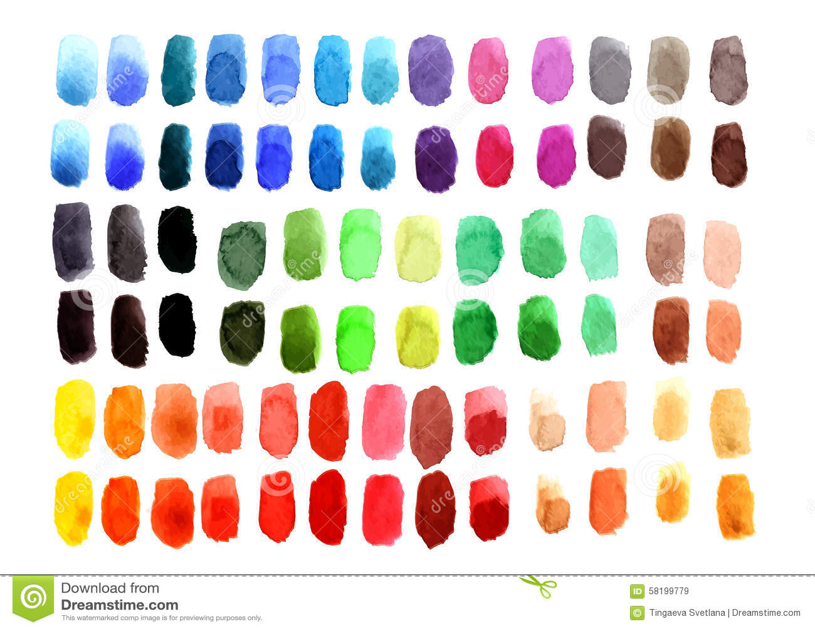watercolor palette stock vector illustration of brush 58199779