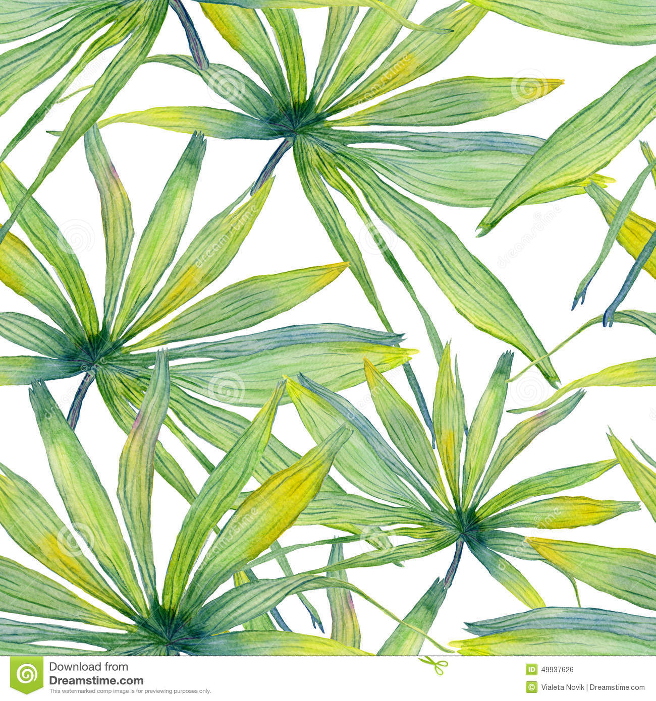 Watercolor Palm Leaf Seamless Pattern Stock Illustration