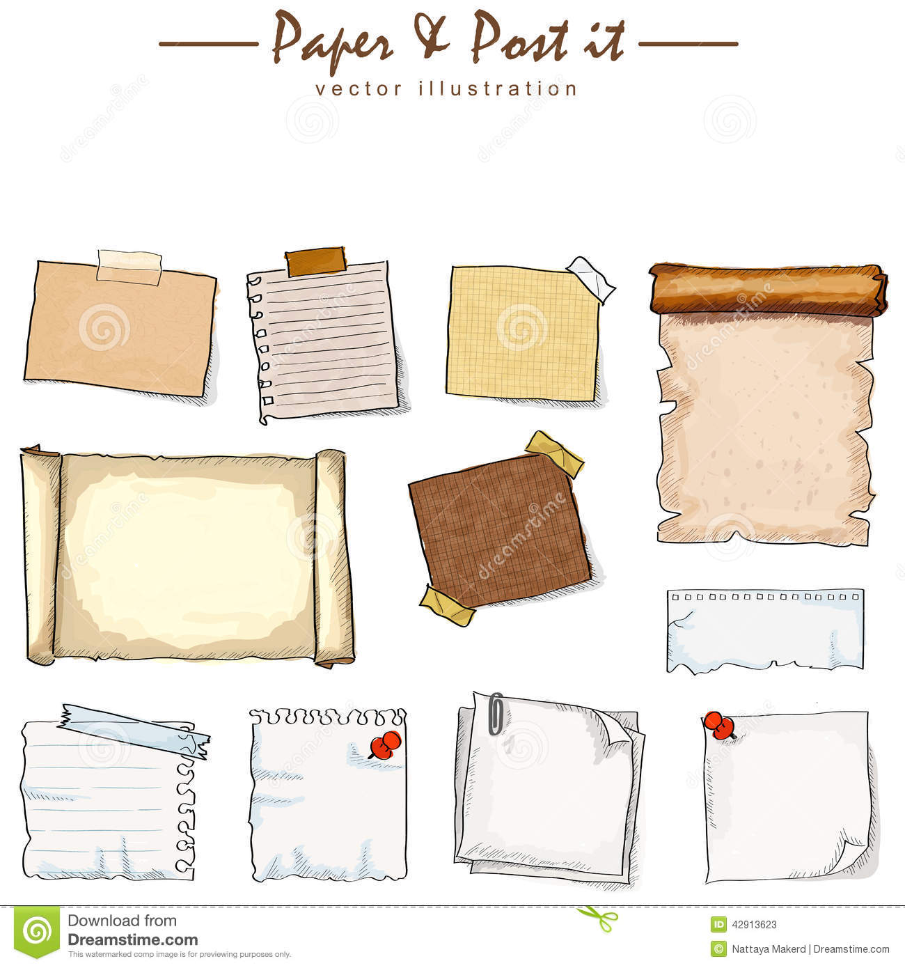 Watercolor of paper collection