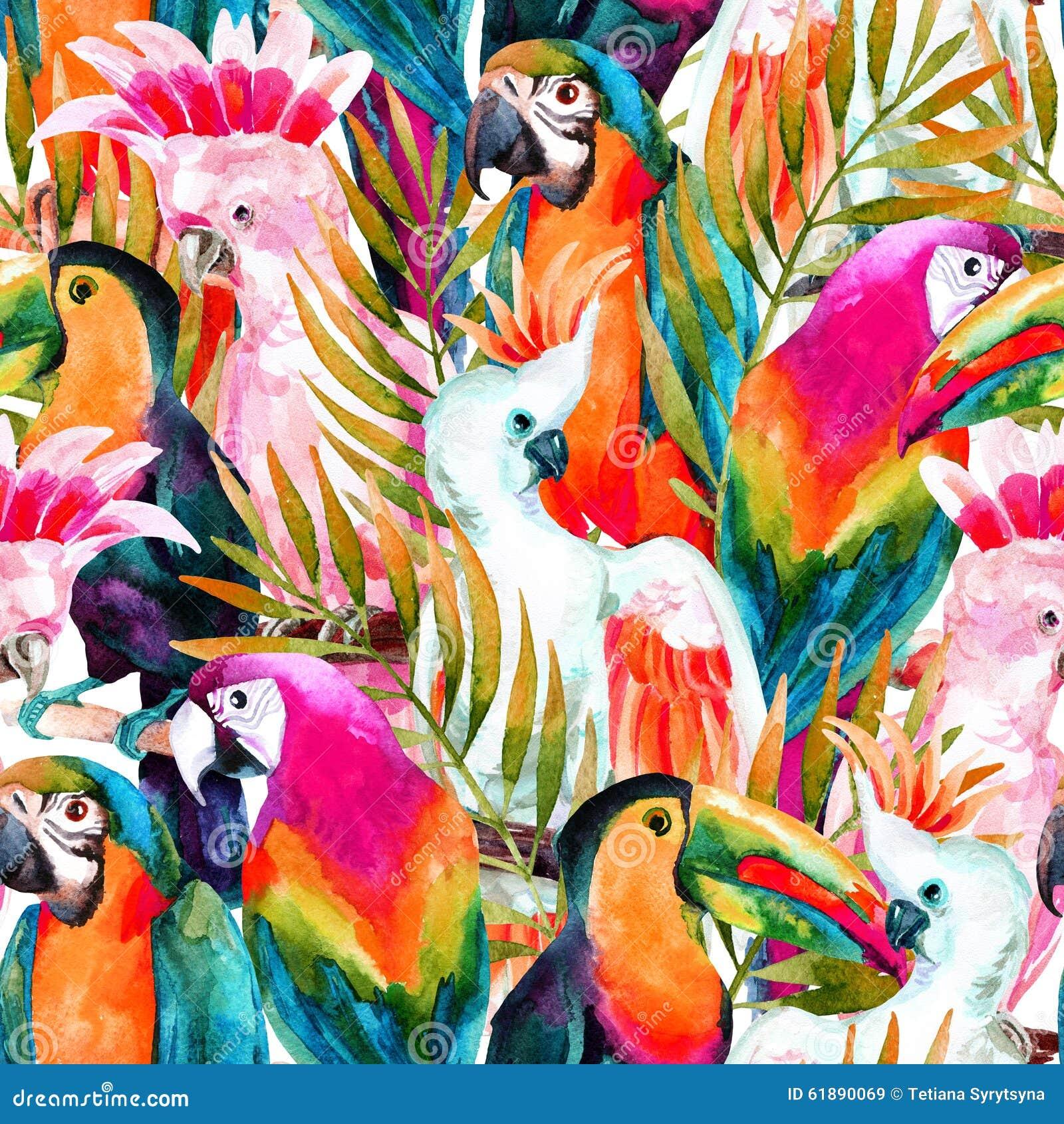 Watercolor Parrots Seamless Pattern Stock Illustration