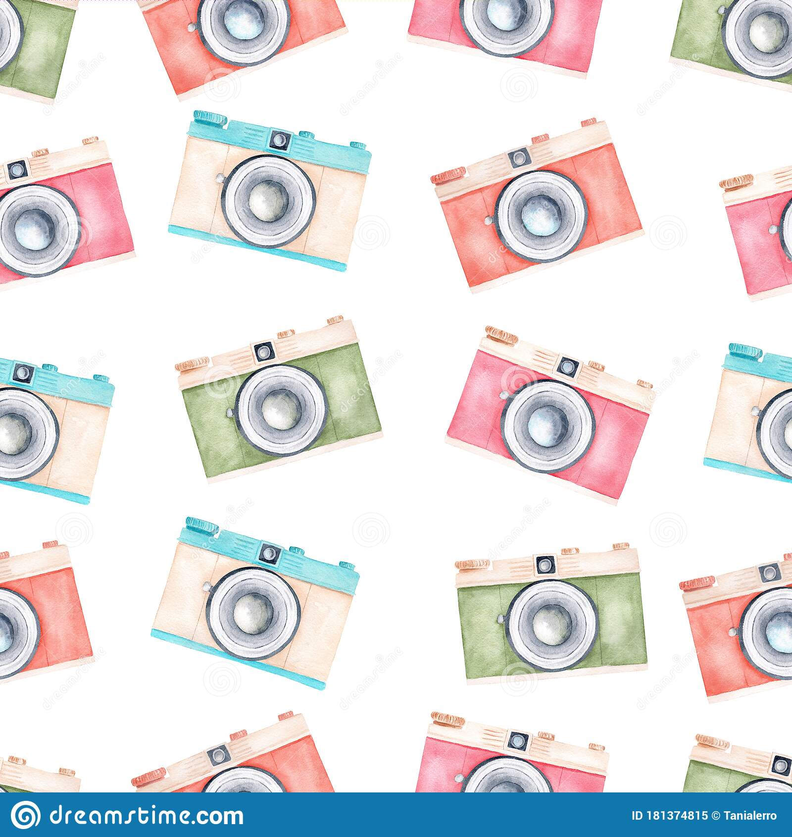 Watercolor Pastel Color Vintage Retro Cameras Clipart Seamless Pattern Digital Paper Stock Illustration Illustration Of Isolated Photograph 181374815