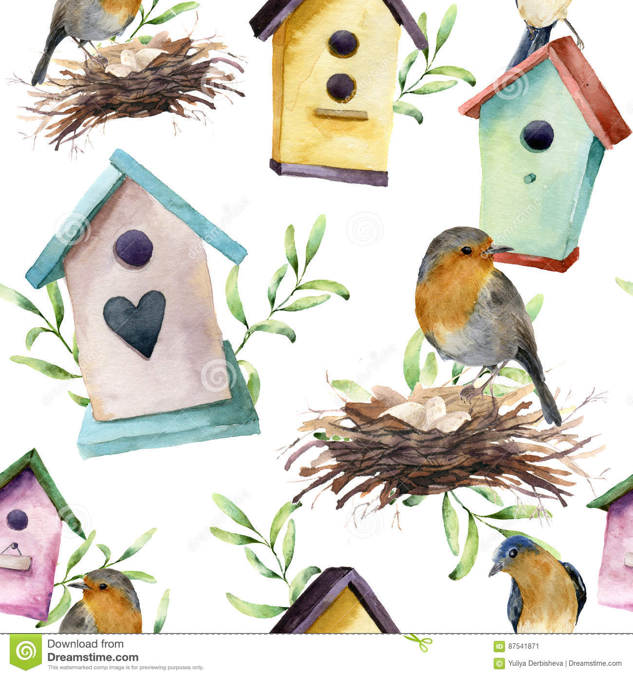 Watercolor Pattern With Bird Birdhouse Nest With Eggs And Greenery Hand Painted Spring Ornament With Nesting Box And Stock Illustration Illustration Of Bird Greeting 87541871