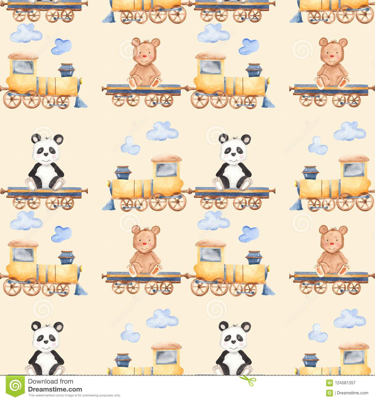 Watercolor Pattern With Cartoon Bears On The Train. Stock ...