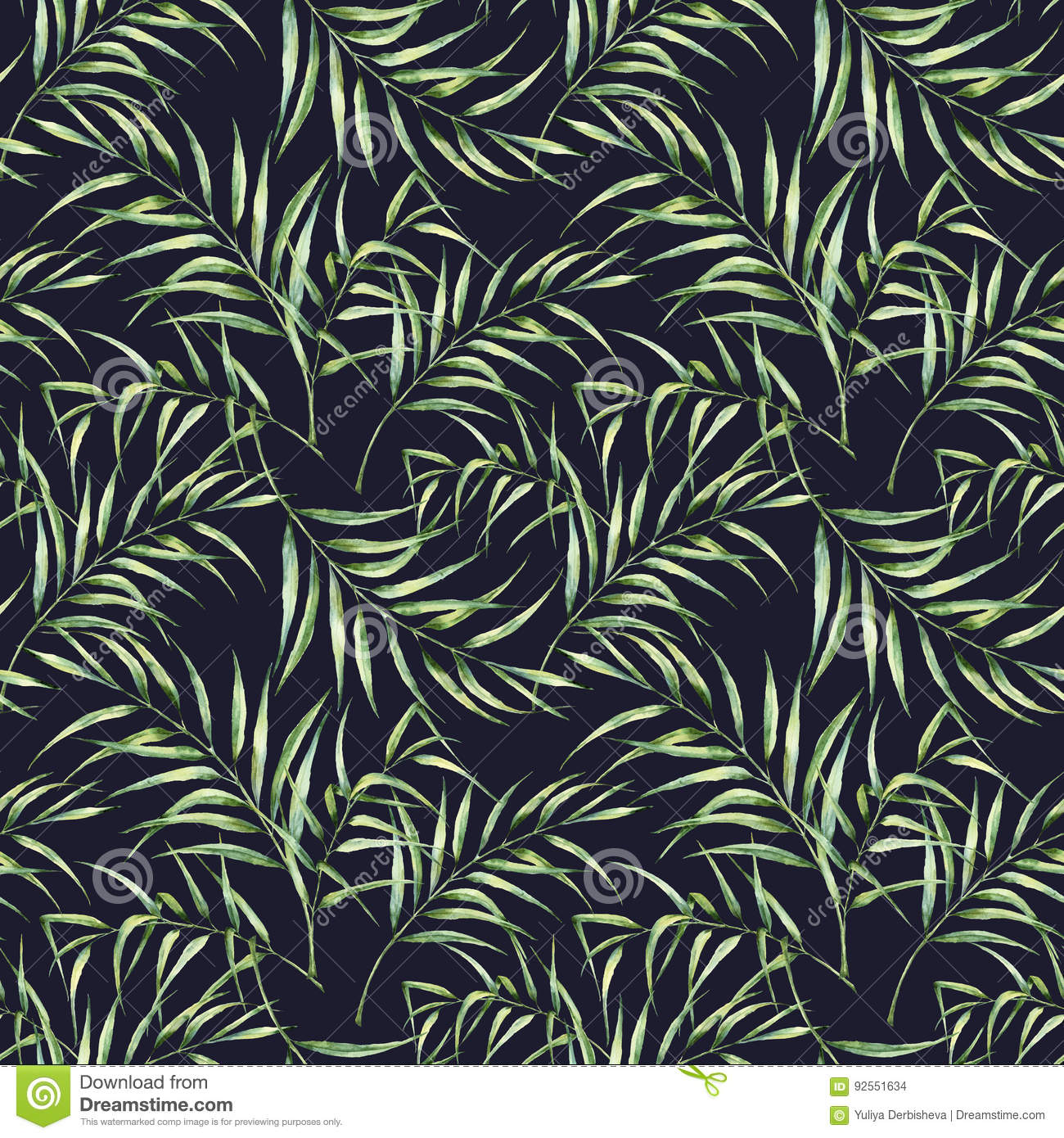 Watercolor pattern with palm tree leaves. Hand painted exotic greenery branch isolated on dark blue background