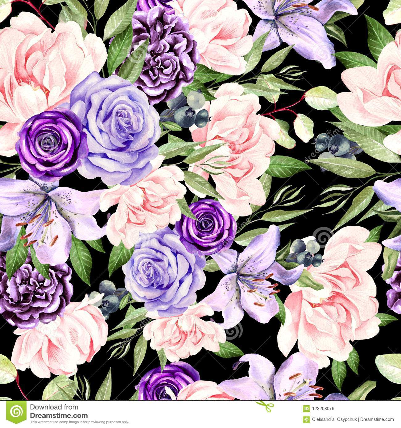 Watercolor pattern with peony rose flowers and lily stock photo download watercolor pattern with peony rose flowers and lily stock photo image of izmirmasajfo