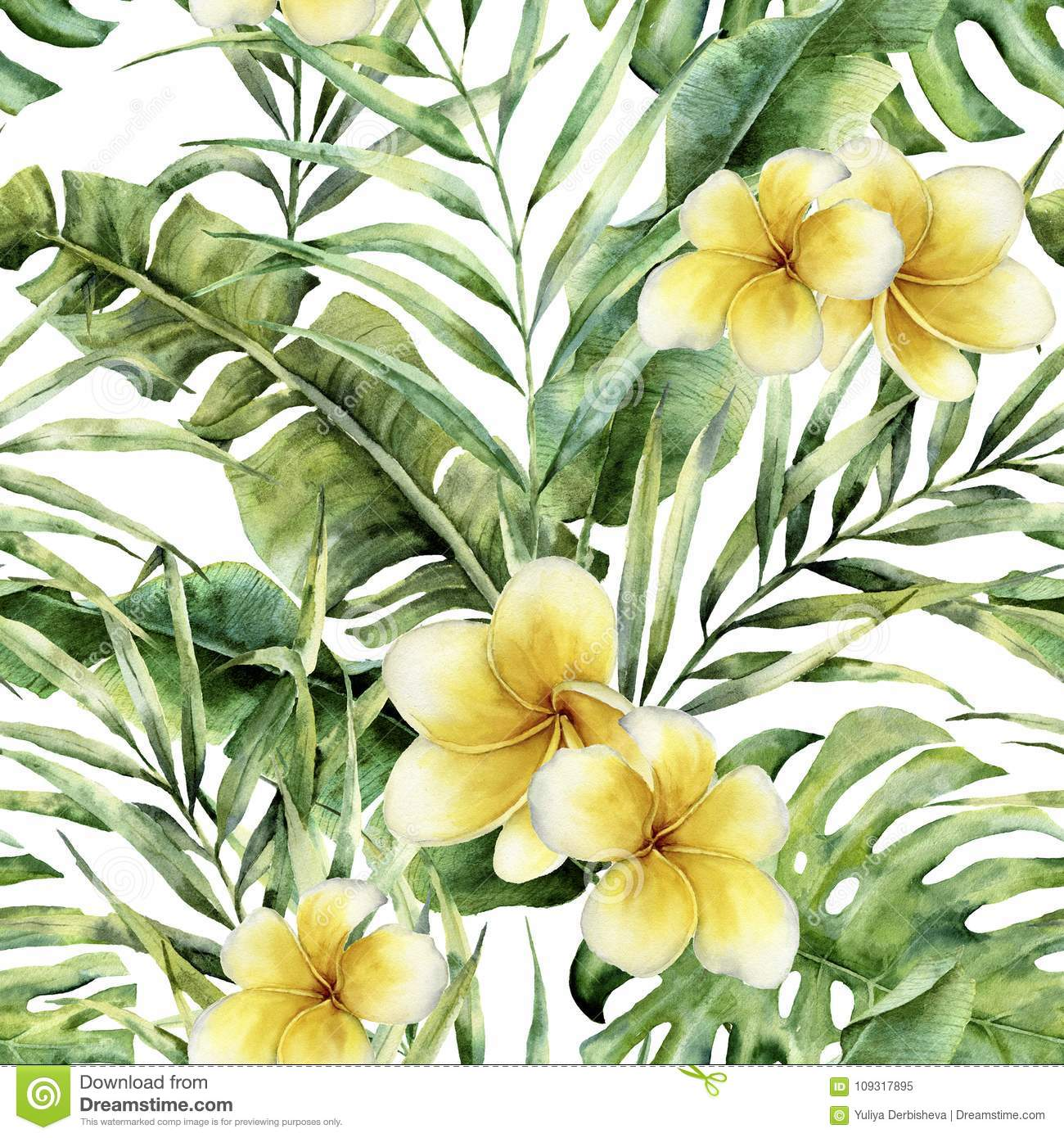 Watercolor pattern with plumeria, palm tree leaves. Hand painted exotic greenery branch. Botanical illustration. For