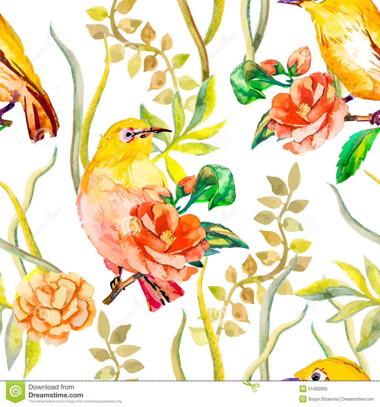 Watercolor Pattern. Tropical Birds And Flowers Stock ...