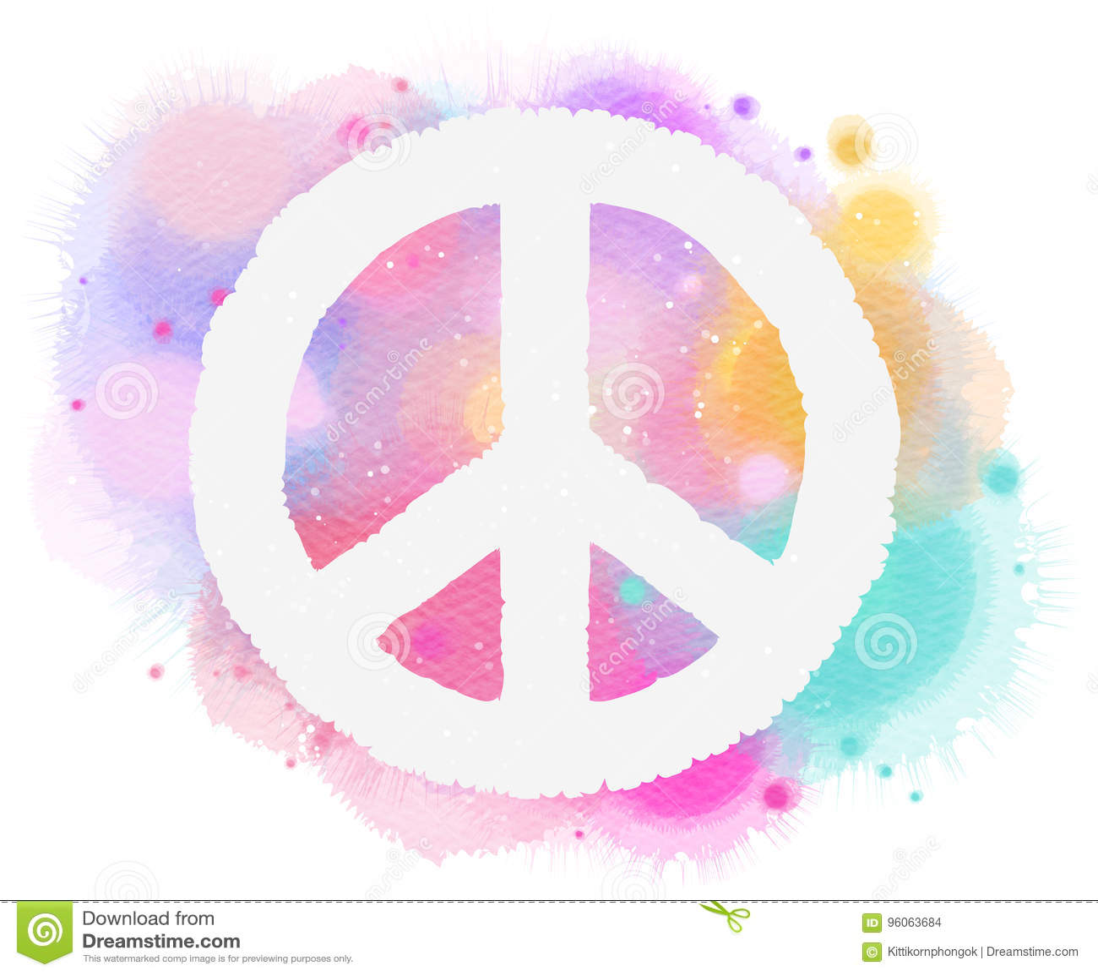 Watercolor Peace Symbol Digital Art Painting Stock Illustration