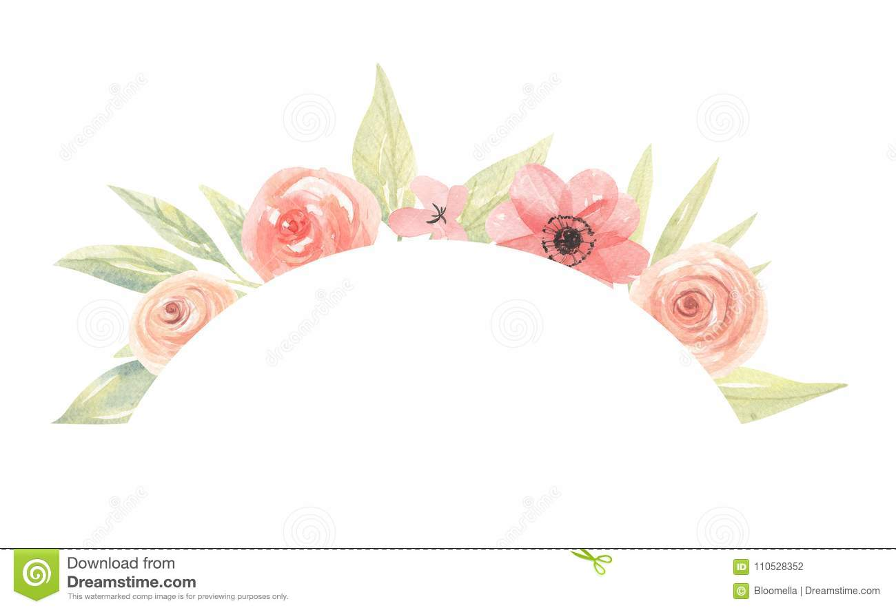 Watercolor Peach Coral Green Arrangement Frame Arch Pink Flowers