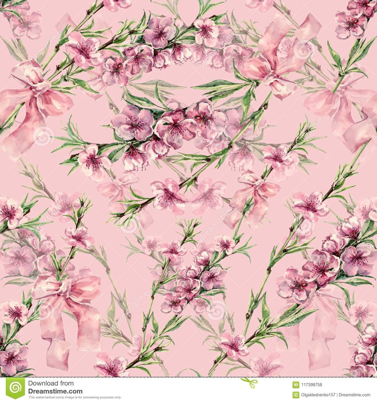 watercolor peach flowers with ribbon seamless pattern on a pink background stock illustration illustration of fabric bouquet 117398758 https www dreamstime com watercolor peach flowers ribbon seamless pattern pink background handiwork design floral delicate illustration image117398758