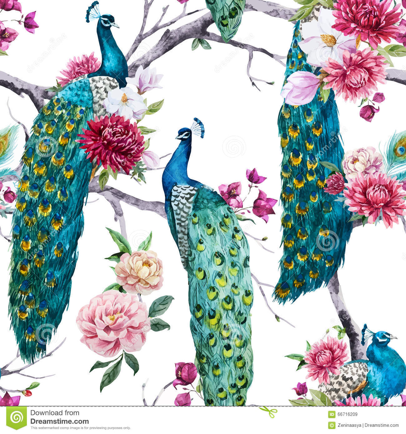 Watercolor Peacock And Flowers Pattern Stock Vector