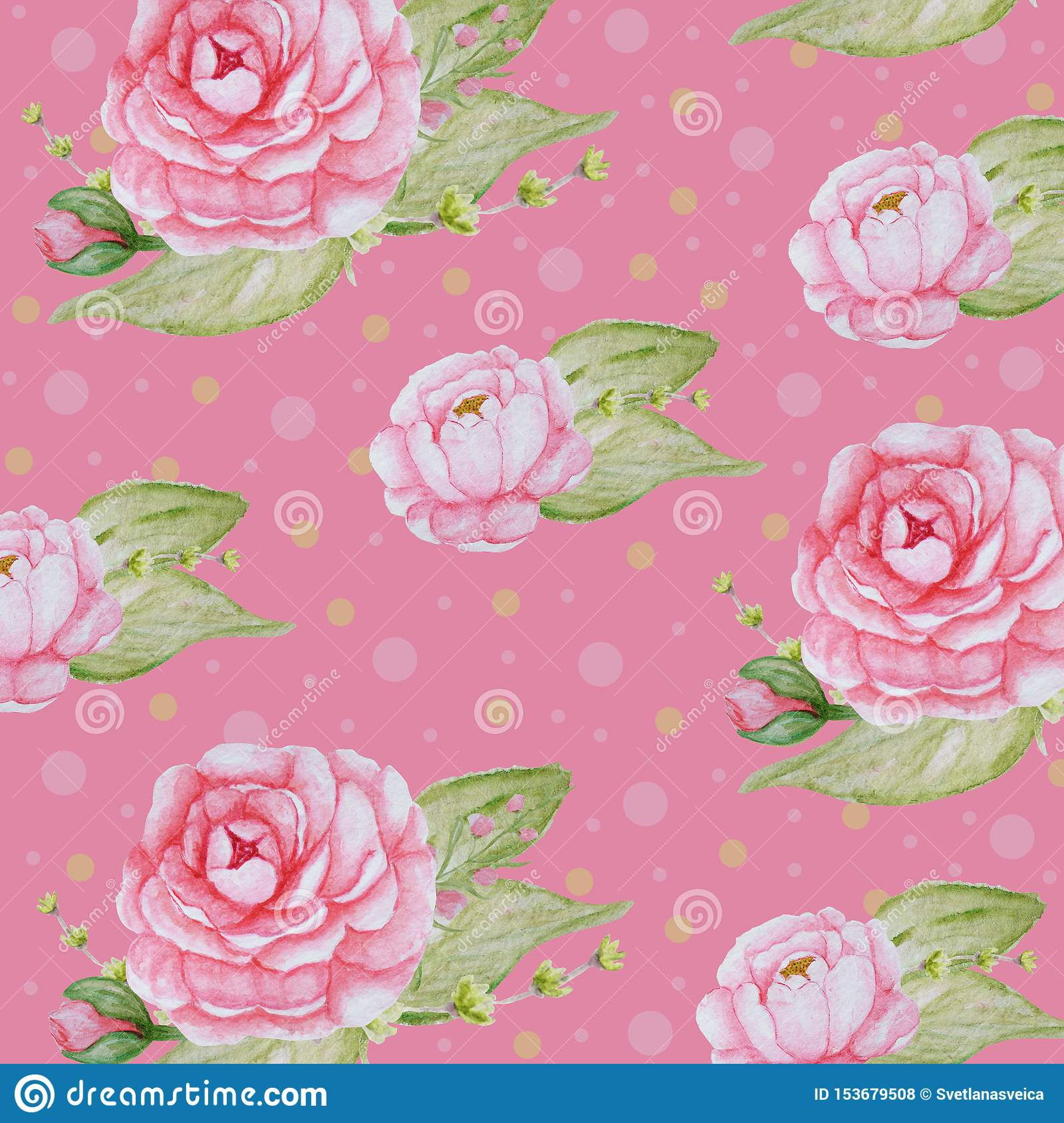 Watercolor Peony Flowers pattern, Pink Peonies texture, Romantic Scrapbook paper on pink background
