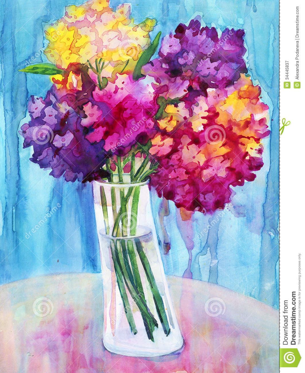 Watercolor phlox flowers stock illustration illustration of brush watercolor phlox flowers izmirmasajfo