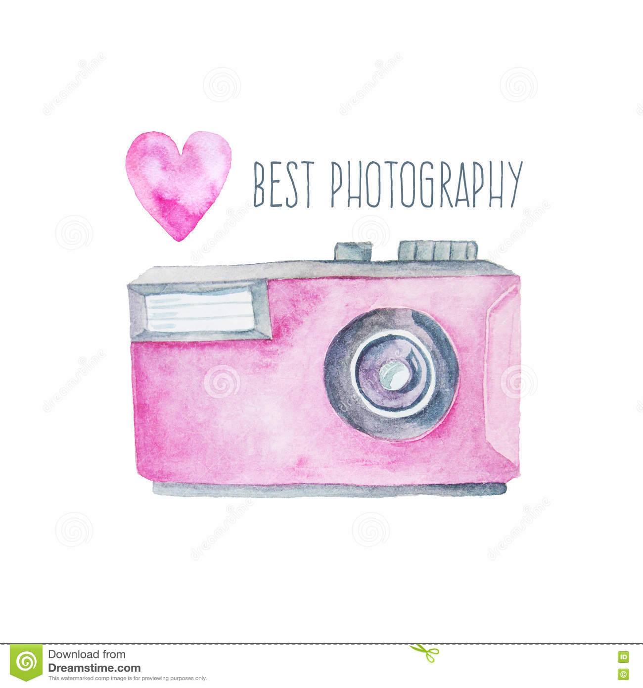 Watercolor photo camera and pink heart