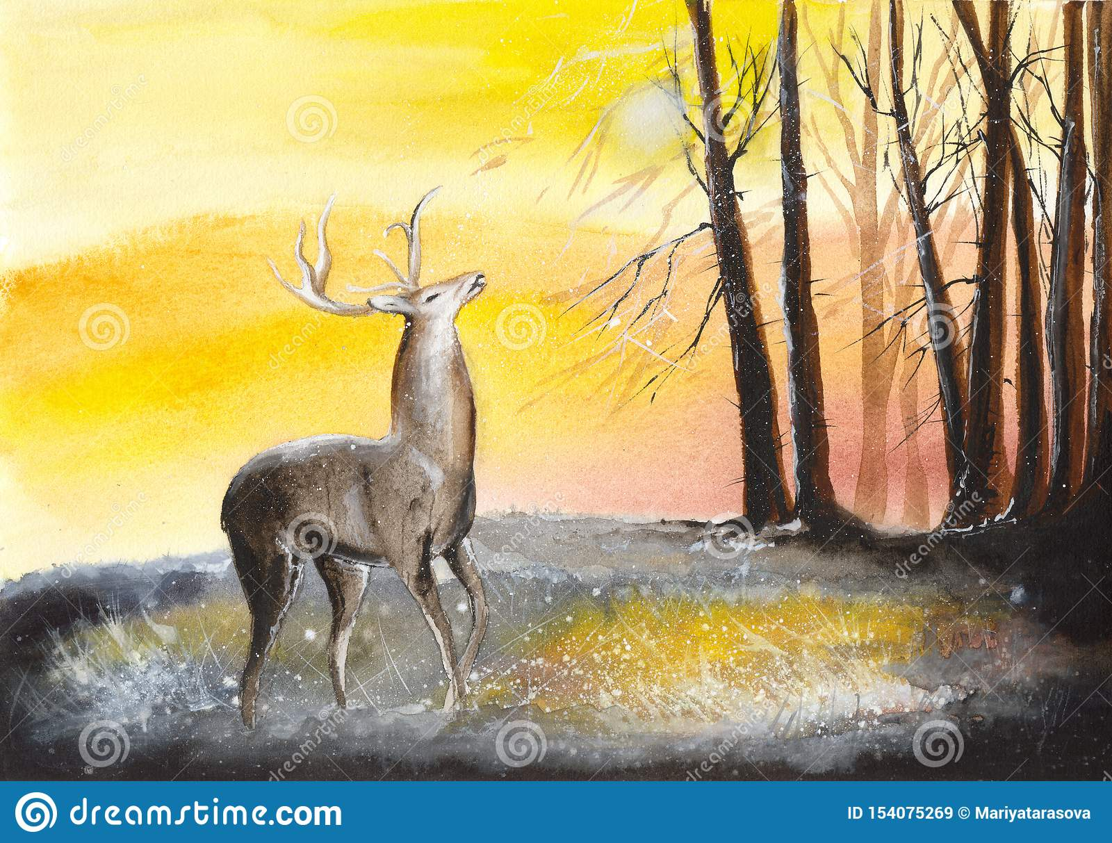 watercolor deer in forest stock illustration illustration of background 154075269 https www dreamstime com watercolor picture deer autumn forest trees yellow bachground watercolor deer forest image154075269