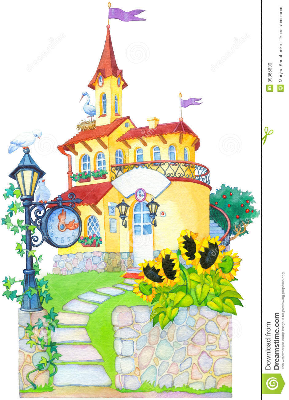 Watercolor Picture Fairytale Castle Mansion Stock