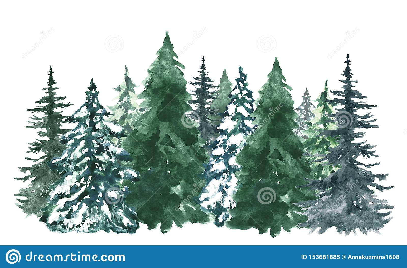 watercolor pine trees background banner hand painted pine forest isolated snow winter wonderland illustration watercolor 153681885