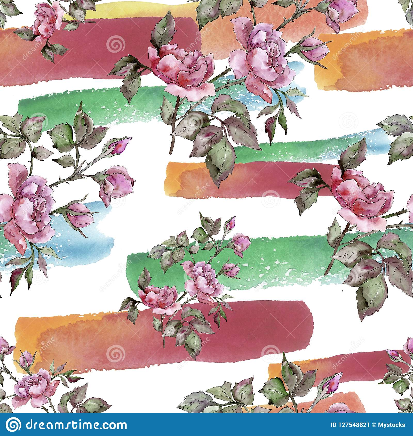 Watercolor pink bouquet peony flower. Floral botanical flower. Seamless background pattern.