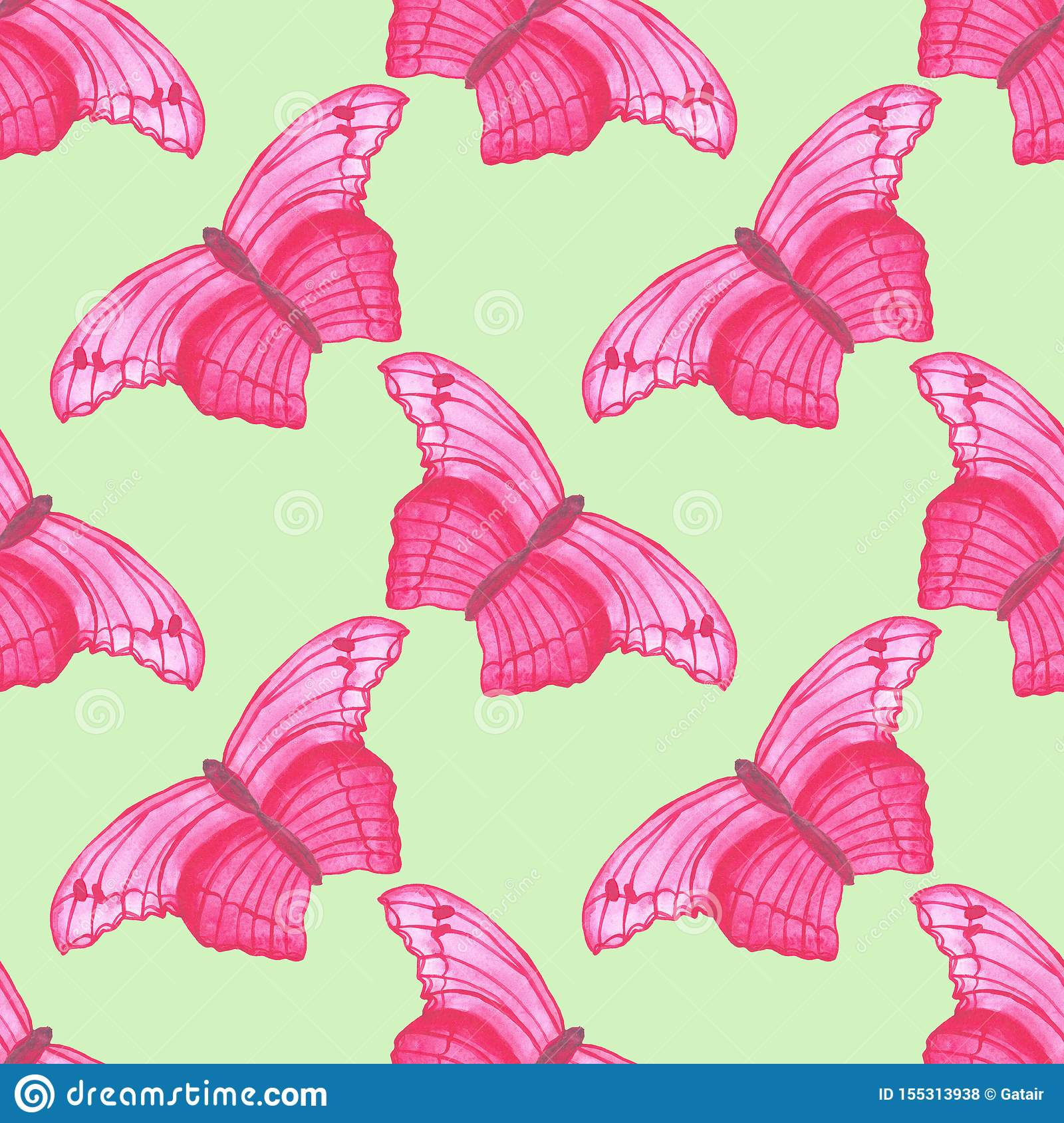 Watercolor Pink Butterfly Seamless Pattern On White Background