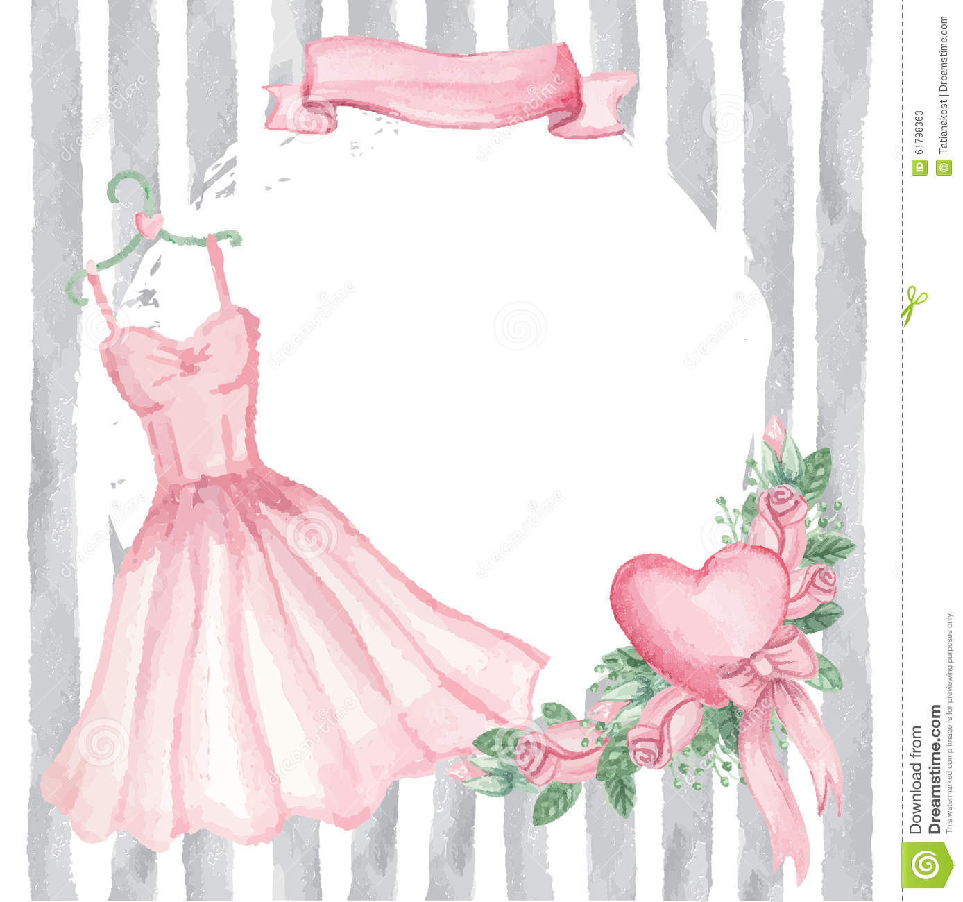 watercolor wedding dress watercolor pink dress roses decor ribbon strips stock 8368