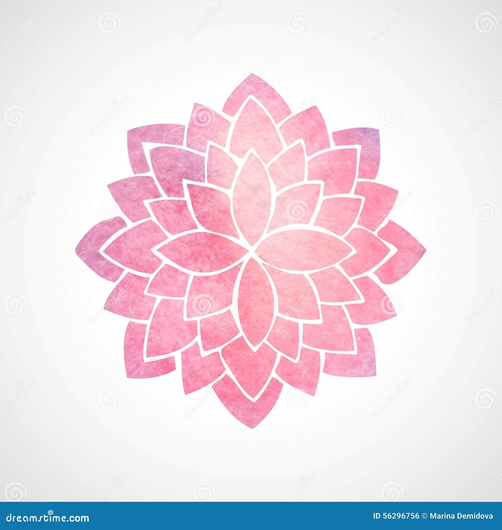 Watercolor Pink Flower Pattern Silhouette Of Lotus Mandala Stock