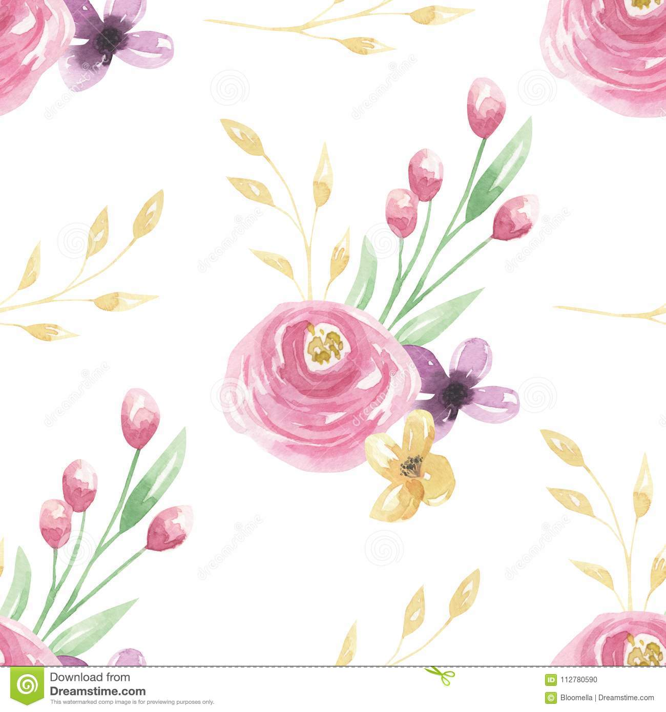 Watercolor Pink Flowers Leaves Berries Green Floral Seamless Patterns Stock Illustration Illustration Of Flowers Frame 112780590