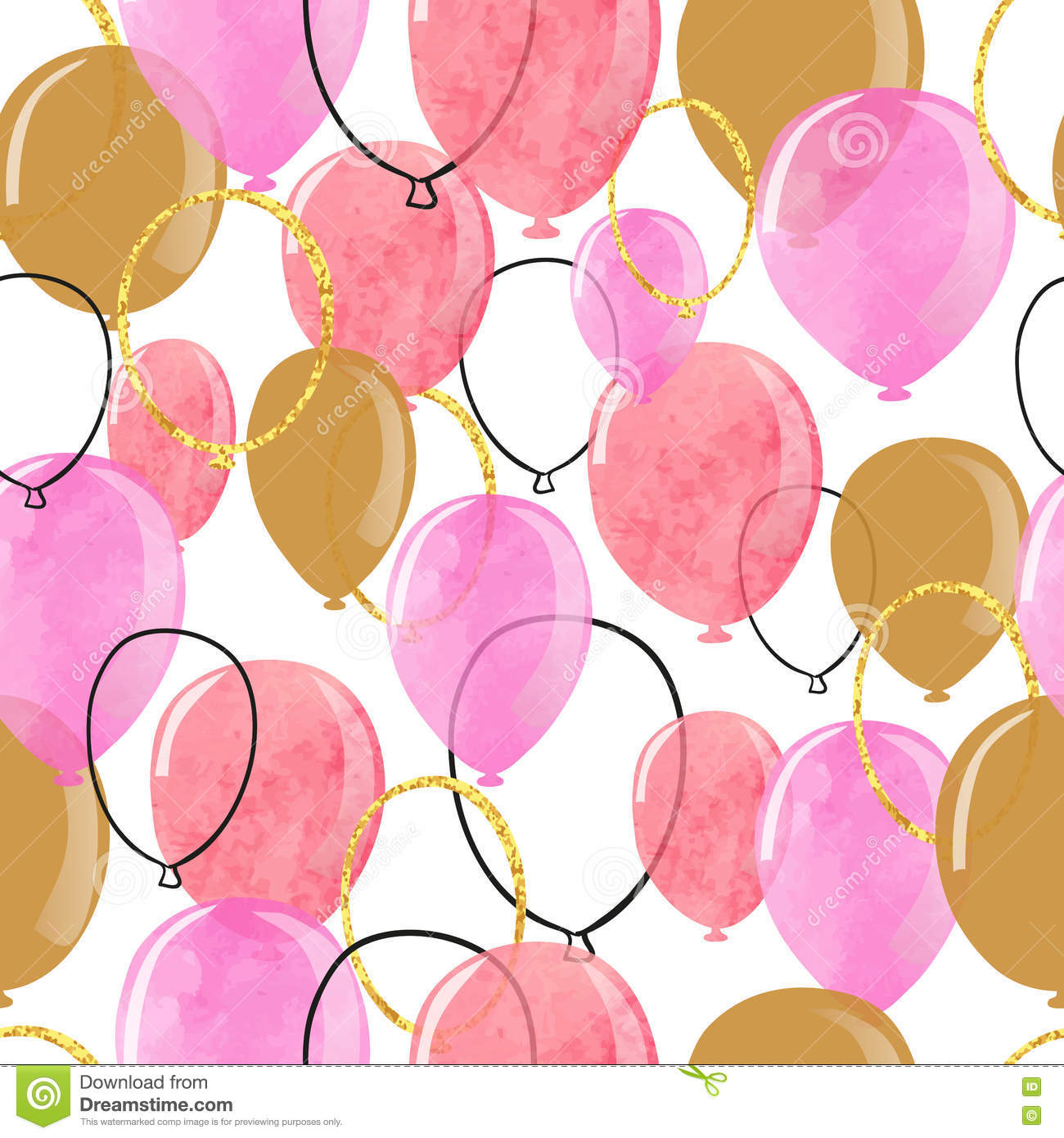 Watercolor pink and glittering gold balloons seamless pattern.