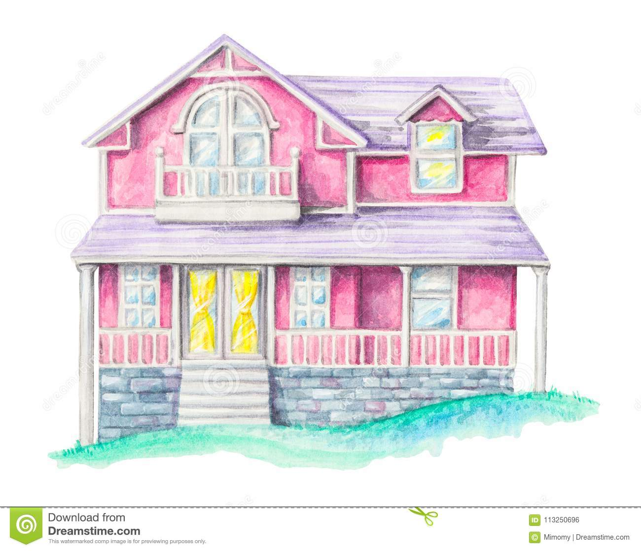Watercolor Pink House On An Green Lawn Stock Illustration ...