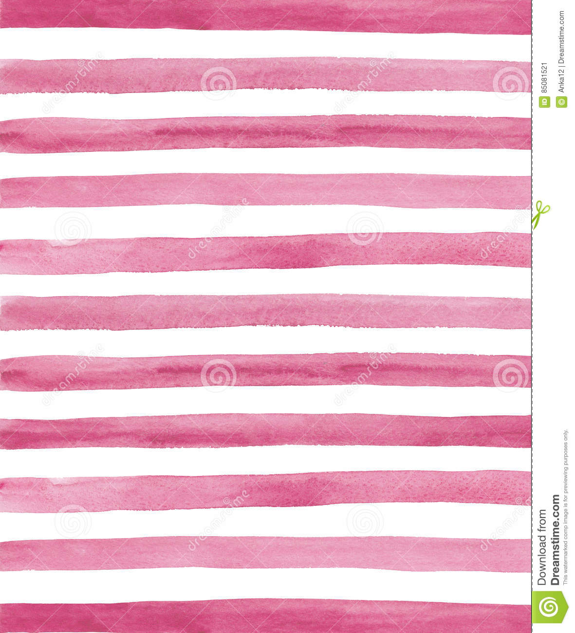 Watercolor Pink And White Stripes Background Stock Illustration