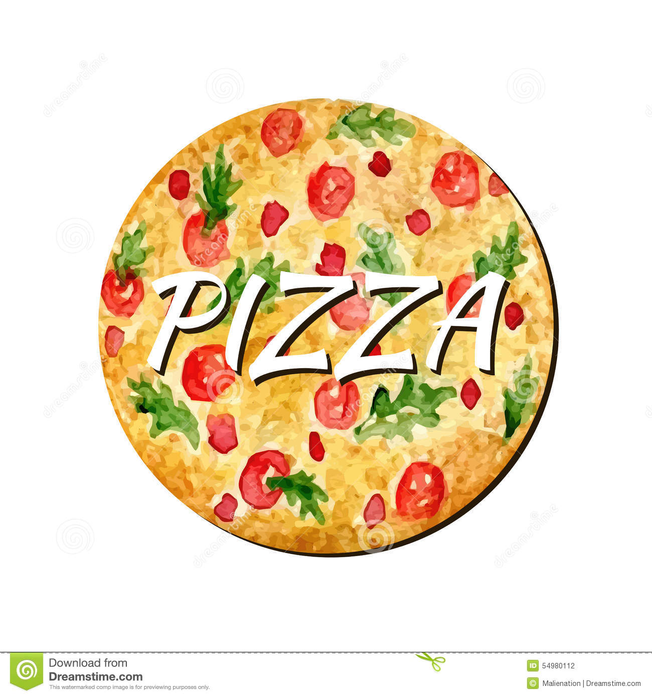 Watercolor pizza isolated artwork. Hand paint vector illustration. Watercolor can be used for sticker, avatar, logo or icon.