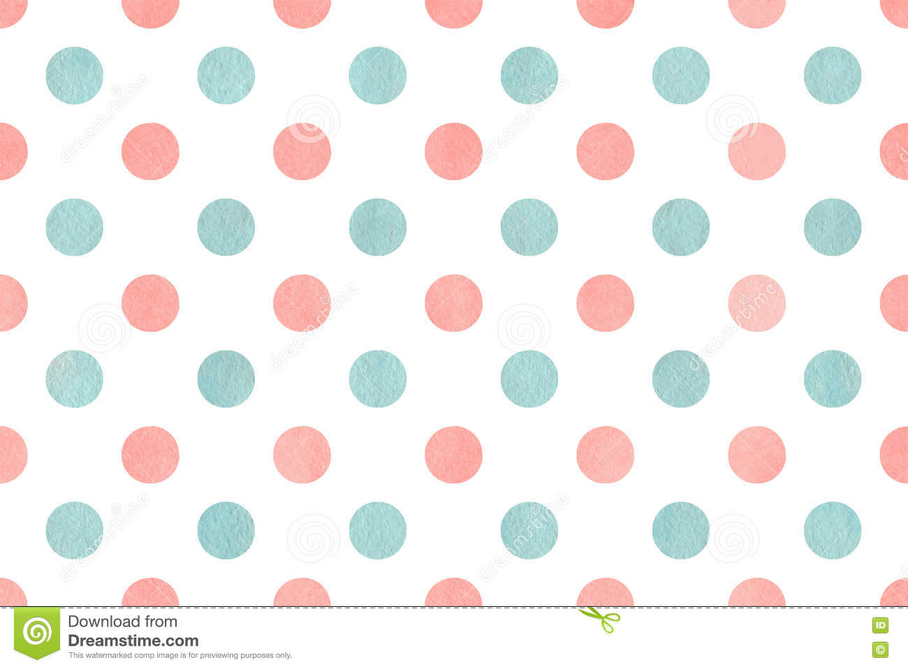 Watercolor Polka Dot Background Stock Illustration