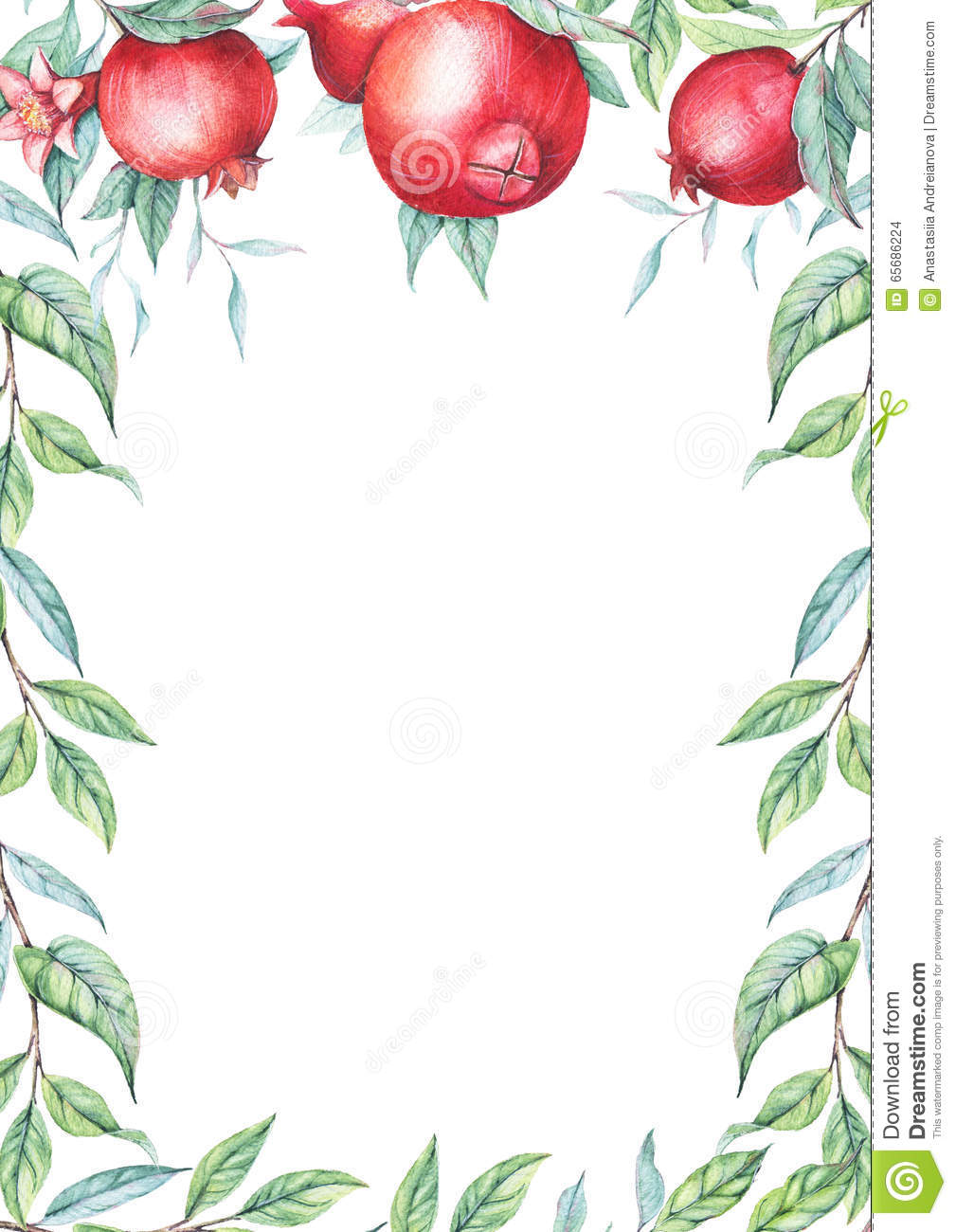 Watercolor Pomegranate (garnet) Border Stock Illustration ...