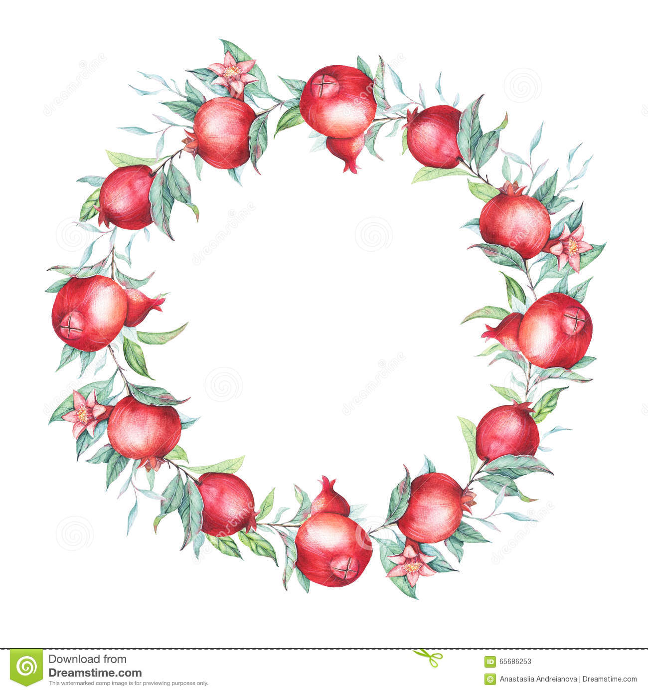 Watercolor Pomegranate (garnet) Wreath. Stock Illustration ...