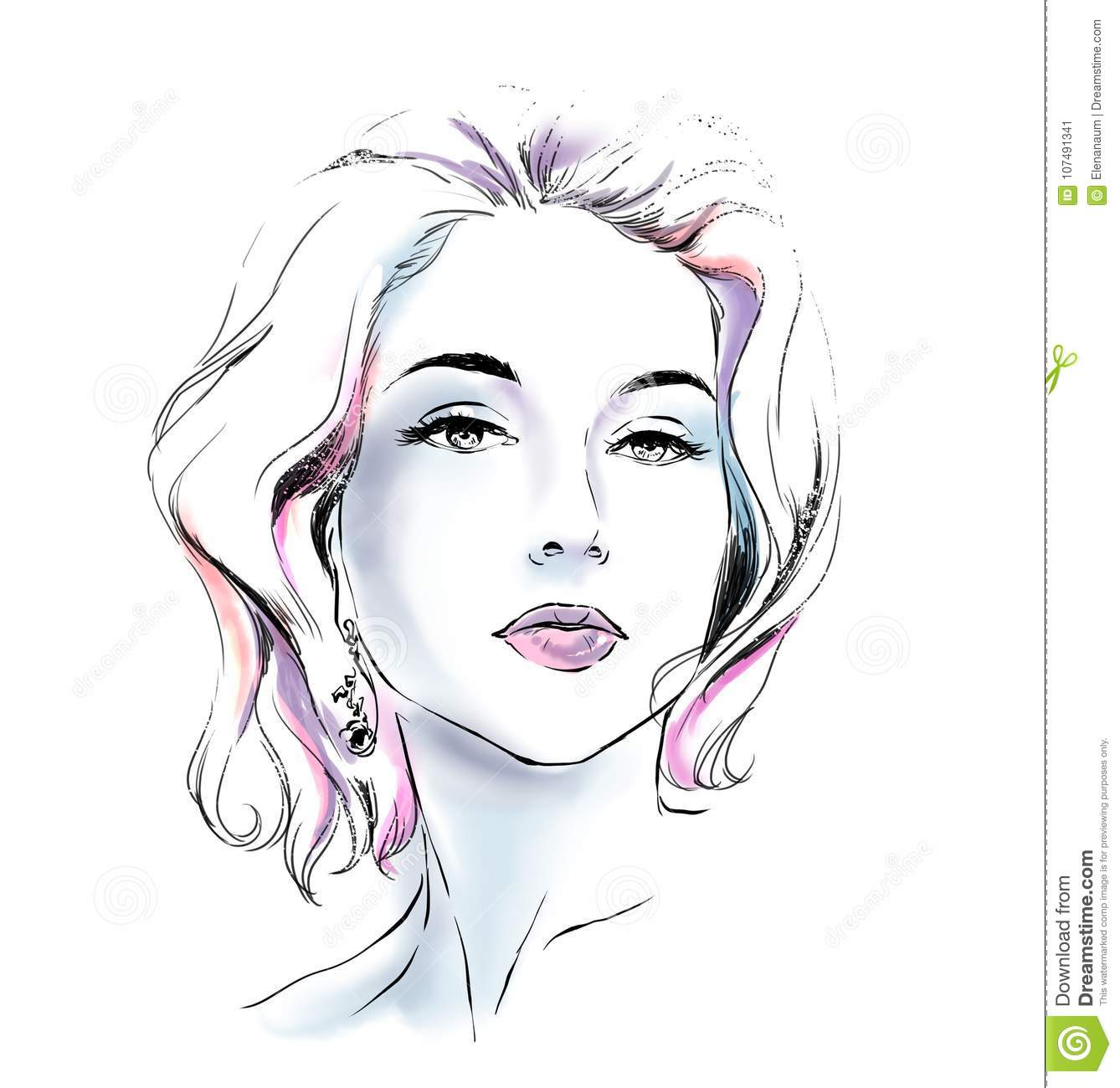 Watercolor portrait of fashion glamour woman young pretty girl with bright color background sketch scribble type